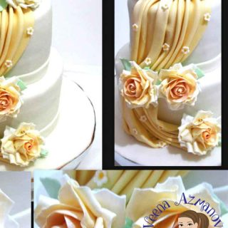 Fondant drapes are the in thing on cakes now especially wedding cakes. They look really elegant and make a great statement on fashion inspired cakes. I made this for a wedding cake and dressed the drapes with my two tone gumpaste roses as well.#fondant #drapes #wedding #cakes #howto #tutorial #cakedecorating # FondantDrapesTutorial