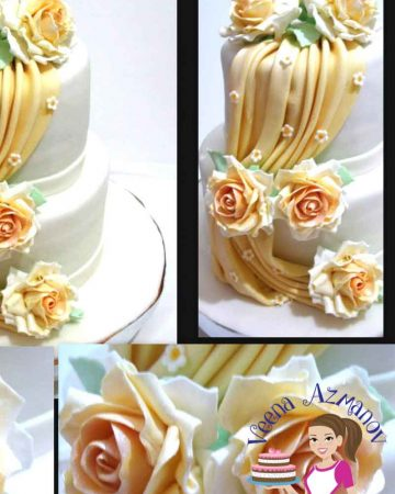 A collage of fondant drapes cake decorations.