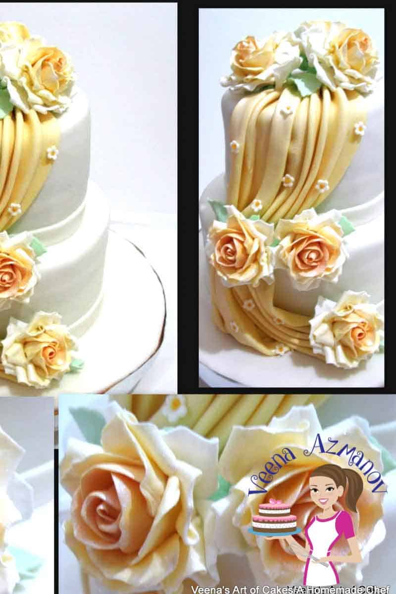 Fondant drapes are the in thing on cakes now especially wedding cakes. They look really elegant and make a great statement on fashion inspired cakes. I made this for a wedding cake and dressed the drapes with my two tone gumpaste roses as well. #fondant #drapes #wedding #cakes #howto #tutorial #cakedecorating # FondantDrapesTutorial