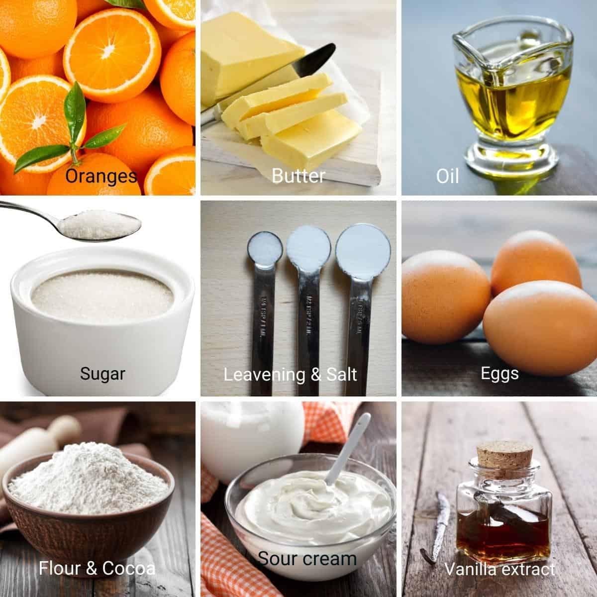 Ingredients for orange cake recipe.