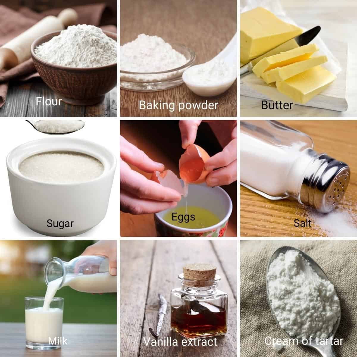 Ingredients for fluffy vanilla cake.