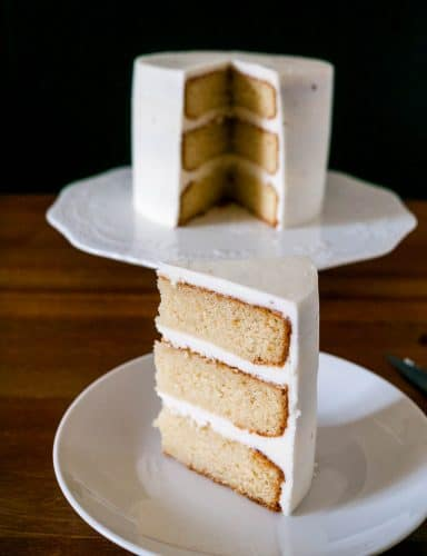 The absolute best moist, light and fluffy vanilla cake recipe made with a butter based batter and whipped egg whites.