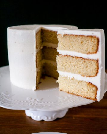 A vanilla layer cake with vanilla frosting.