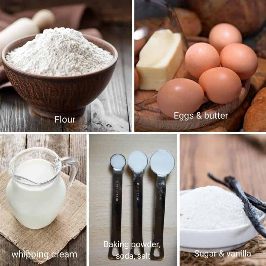 Ingredients shot collage for vanilla cake.