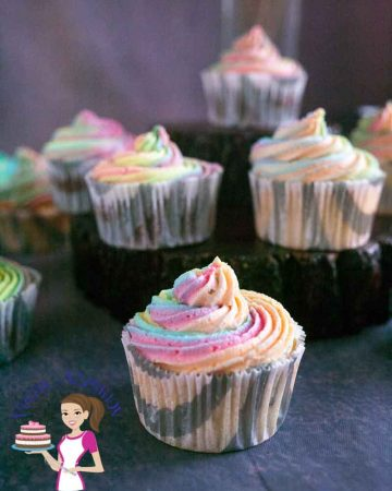 Cupcakes with rainbow frosting.