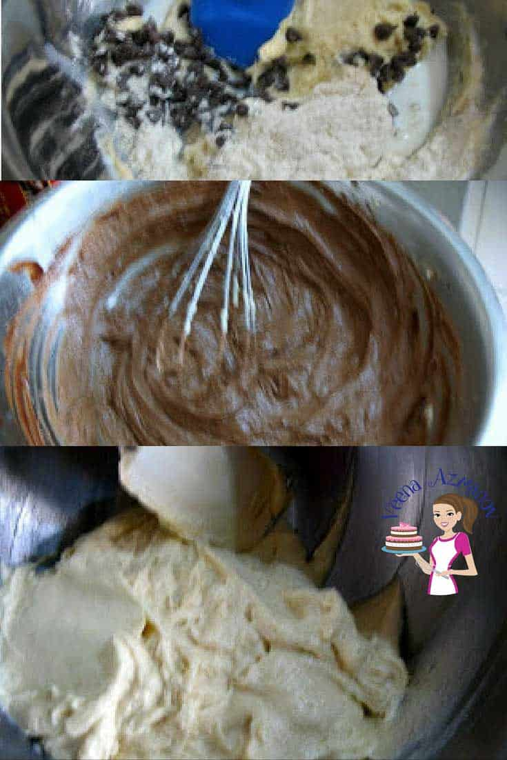 A collage of progress photos of making cupcakes.