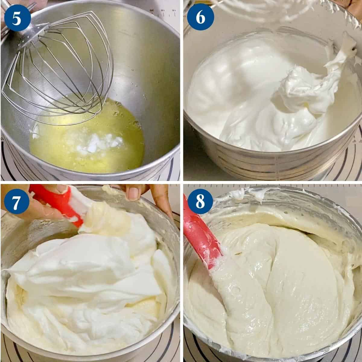 Progress pictures collage for vanilla cake batter.