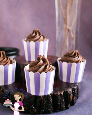 Chocolate cupcakes with chocolate frosting.