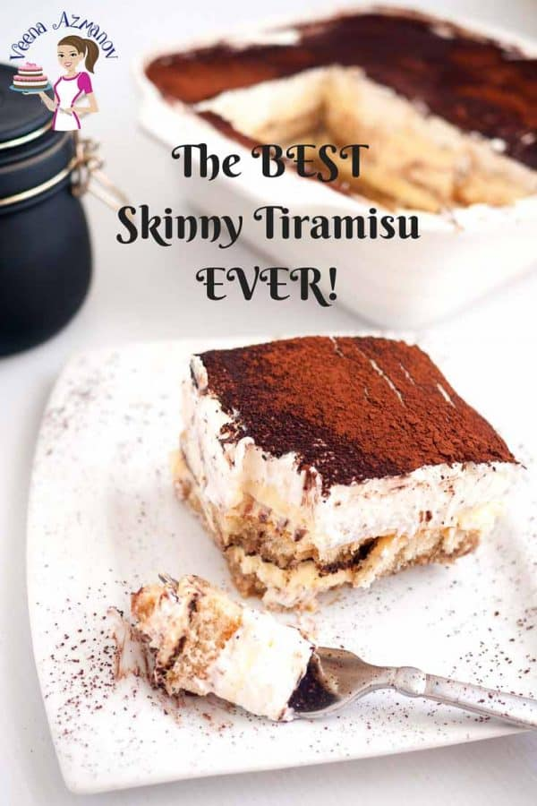 A piece of tiramisu on a plate.