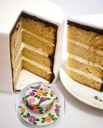 A vanilla layer cake with buttercream frosting.