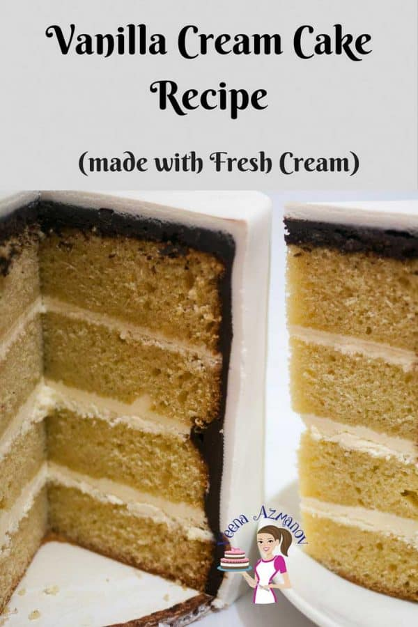 A vanilla layer cake with buttercream frosting with a slice cut out.