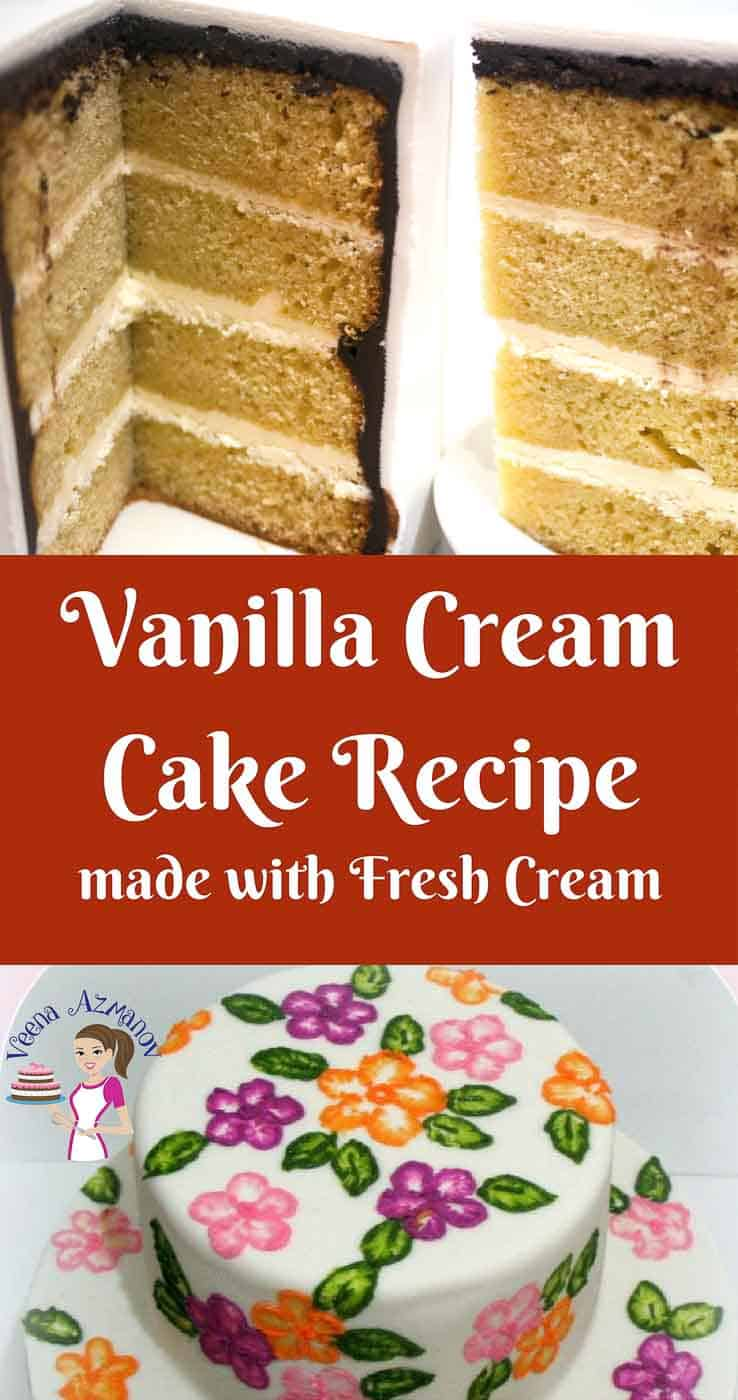 This vanilla cream cake is a delicate cake with a melt in the mouth feel just on it's own even without any frosting. It's rich flavor and soft texture comes from the fresh cream in the batter. A simple, easy and effortless recipe that's luxurious as it is humble.