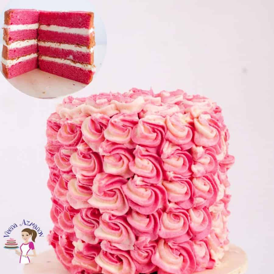 A strawberry layer cake with buttercream frosting.