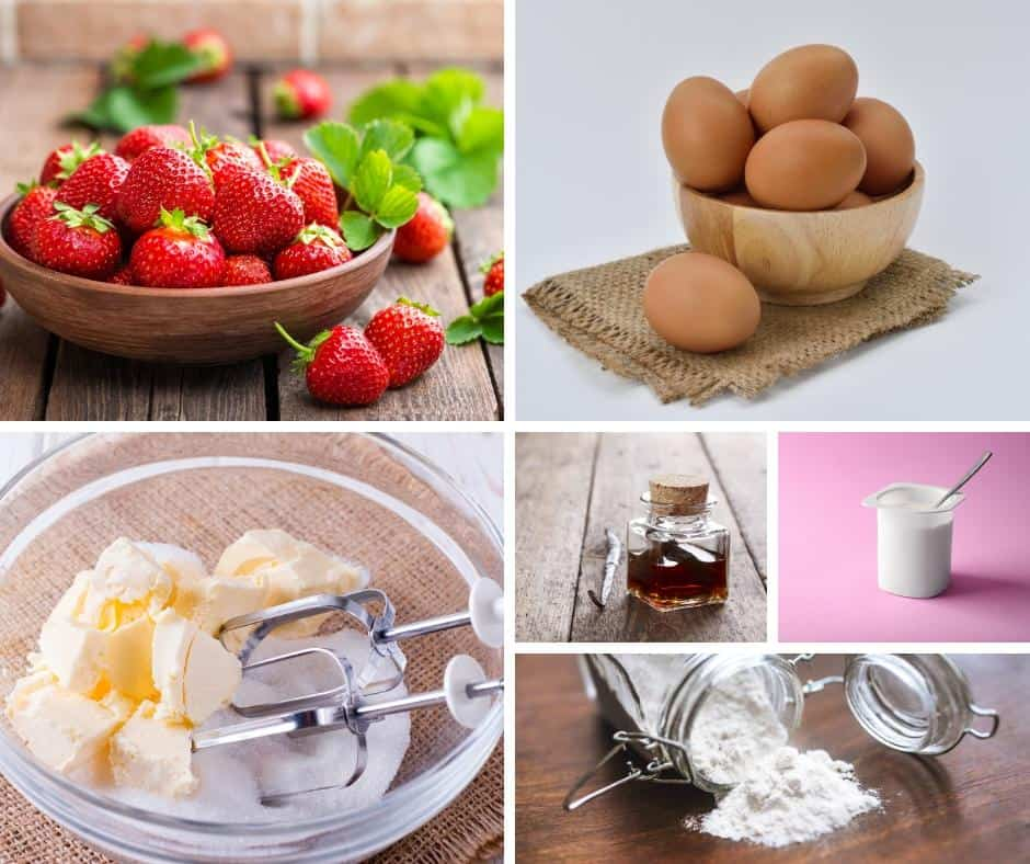 A collage of the ingredients for making a strawberry layer cake with buttercream frosting.