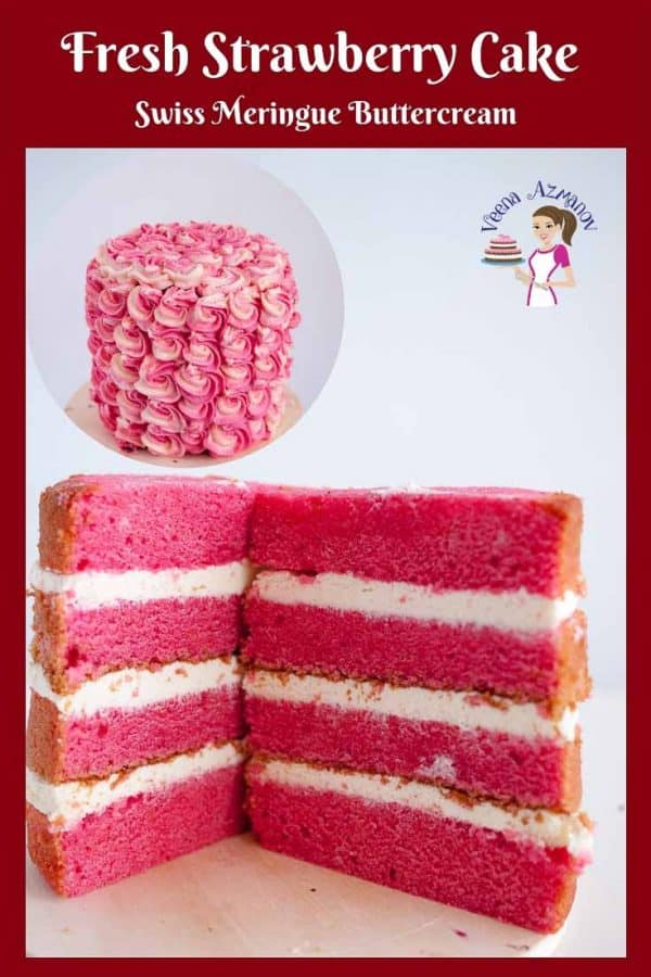 This fresh strawberry cake with Swiss Meringue Buttercream frosting is made with fresh strawberry puree and perfect to serve as a light and refreshing dessert.