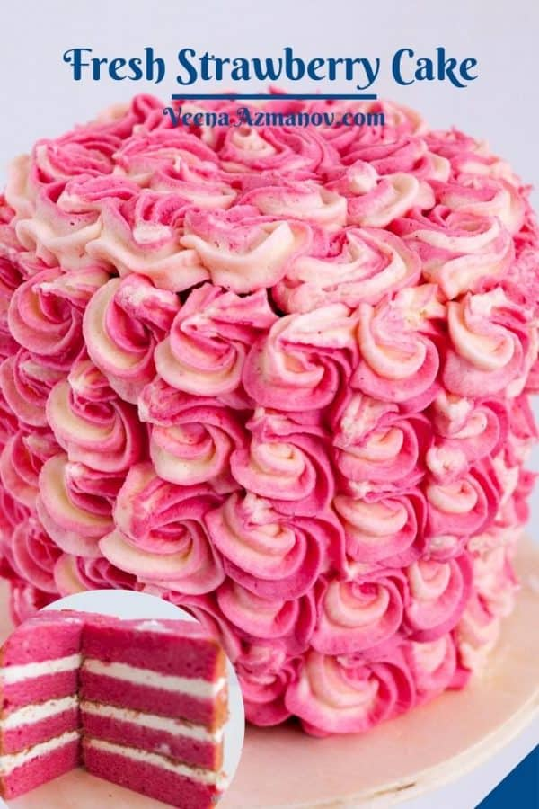 Pinterest image for cake with strawberries.