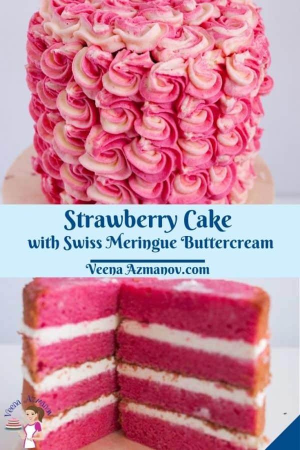 Pinterest image for strawberry cake.