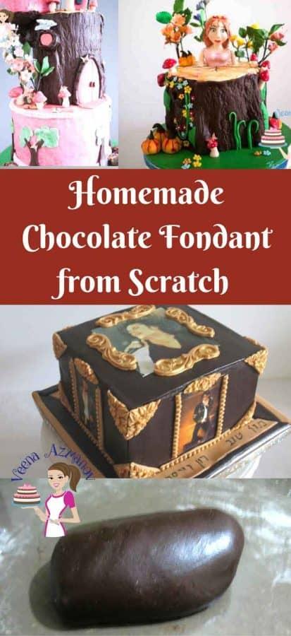 A cake decorated using chocolate fondant.