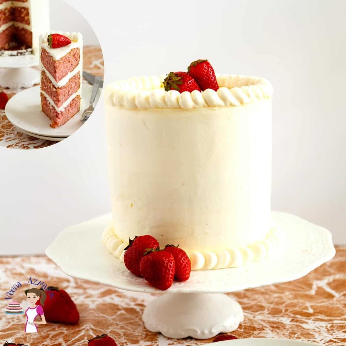 Homemade Layer Cake with fresh Strawberries and American Buttercream
