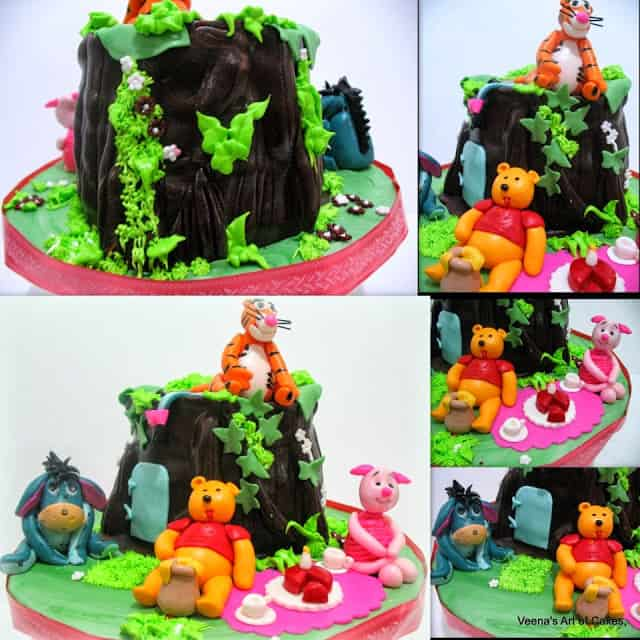 A collage of a Winnie the Pooh tree house cake.