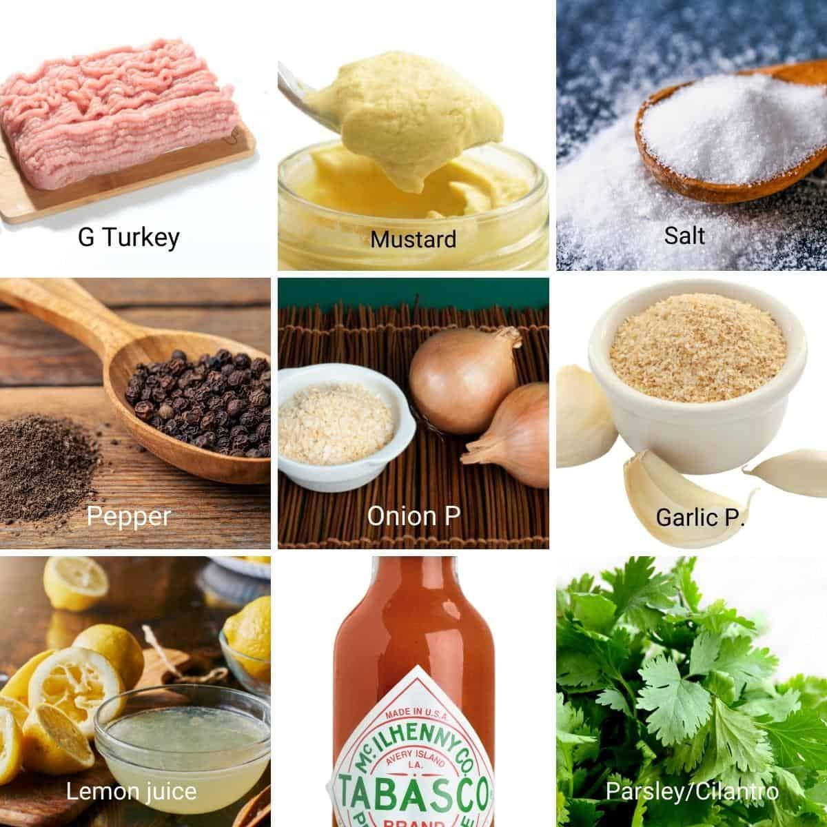 Ingredients shot collage for ground turkey burgers.