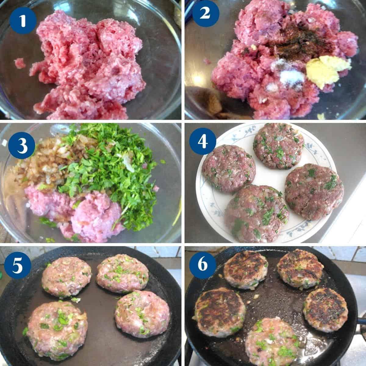 Progress pictures collage making ground turkey patties.