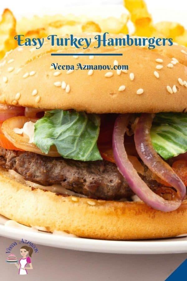 Pinterest image for turkey burgers.