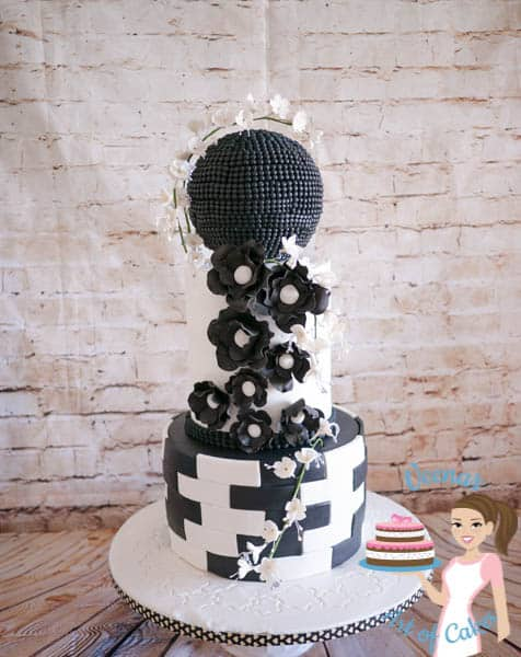 A black and white wedding cake.