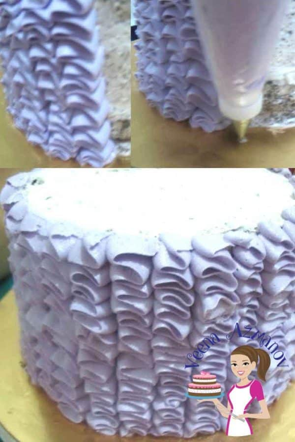 A Buttercream Ruffle Cake is simple easy and quick. It looks very impressive and fashion inspired so makes a perfect celebration cake for any age be it on a princess cake or a mothers day cake.