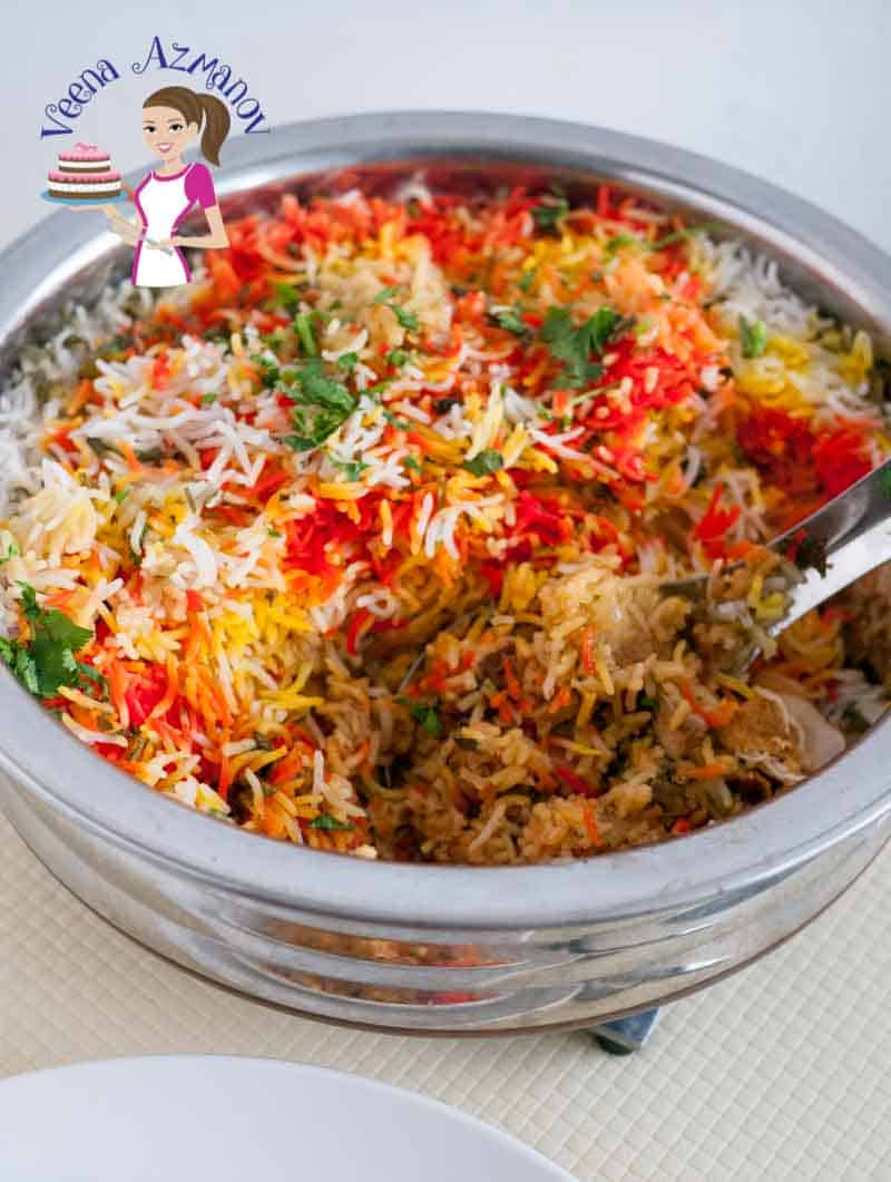 This image shows a close up of the heavy based pan used to make this easy chicken biryani recipe
