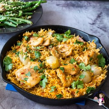 How to cook chicken with rice in a cast-iron skillet in 20 minutes