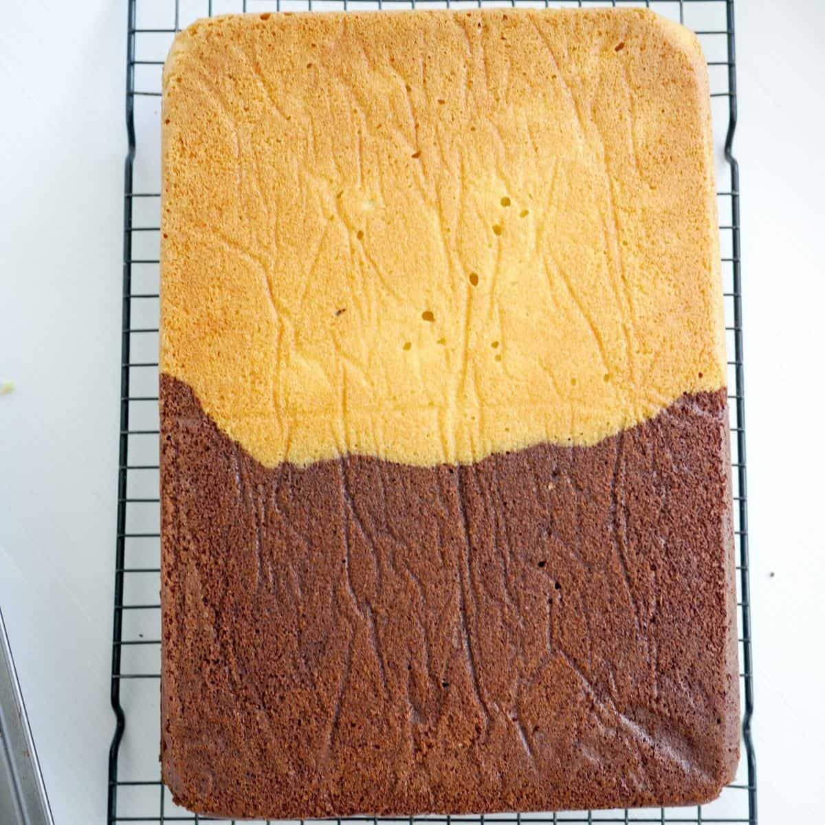 How to make a half and half sheet cake - two in one chocolate vanilla sheet cake recipe