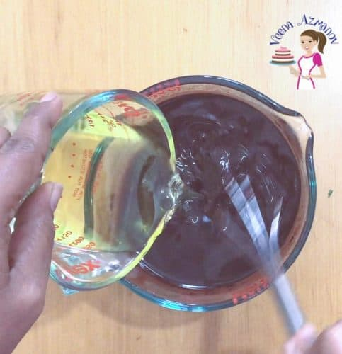 Progress pictures - Eggless Chocolate Bundt - Adding the oil