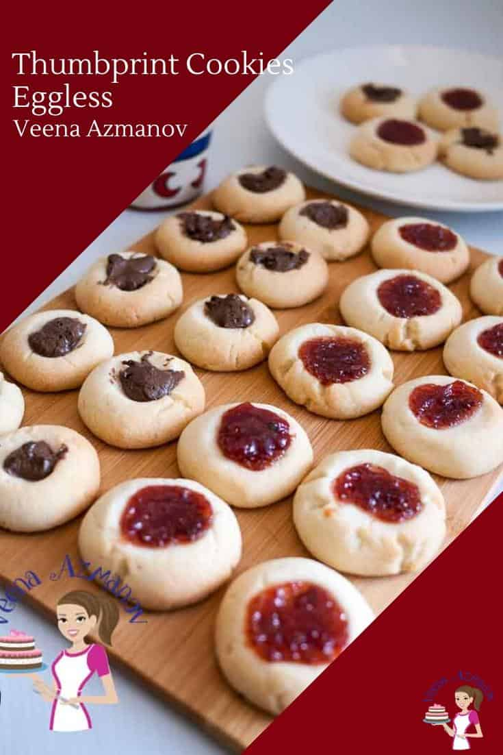 Eggless Homemade Cookies with Thumbprint filled with jam