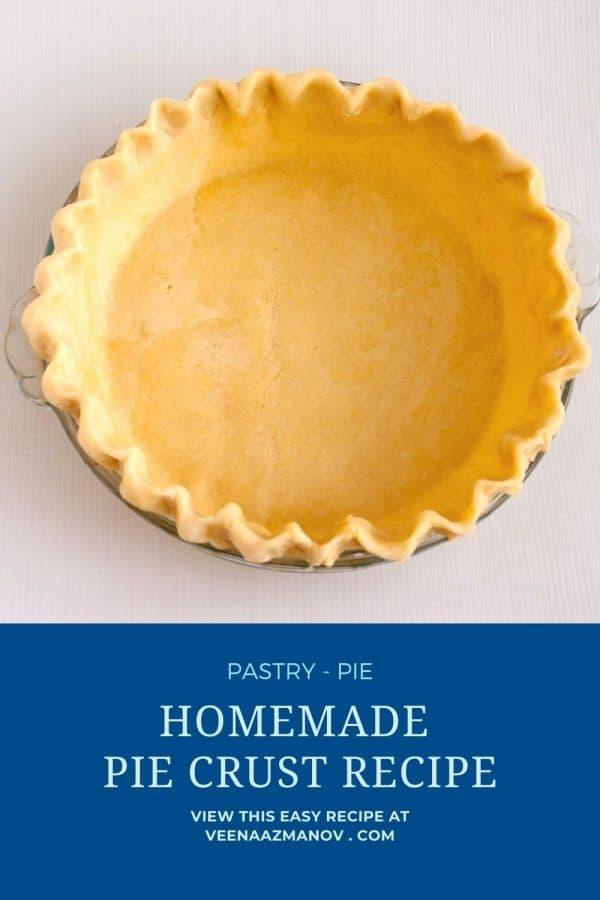 Pinterest image for crust for homemade pie.