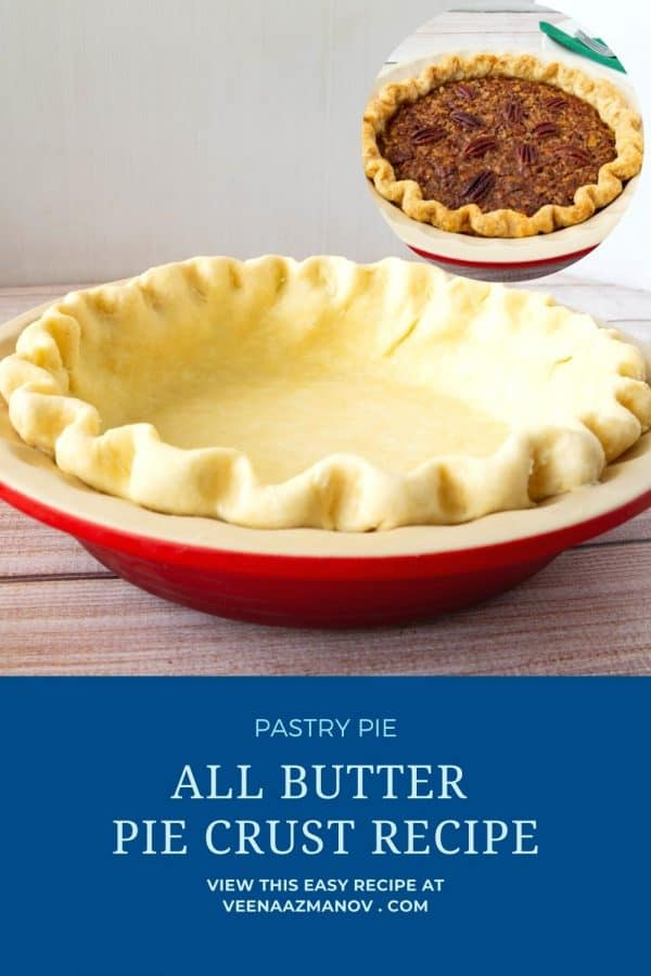 Pinterest image for homemade pie crusts.