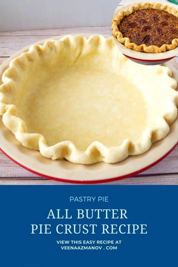 Pinterest image for homemade pie crust.