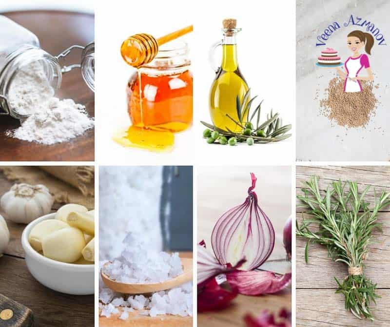 A collage of the ingredients for making focaccia bread with rosemary and Spanish onions.
