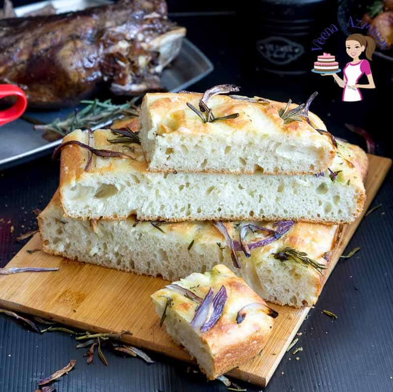 How to Make Homemade Italian Bread Focaccia with Rosemary and Spanish Onions