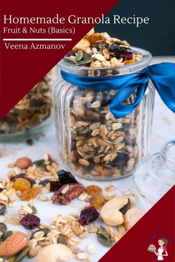 A jar filled with fruit and nut granola.