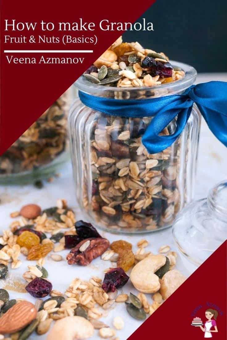 Homemade Granola is a great start to any day! Packed with tons of nutrition to fill your day with energy. Today, I share with you the basic recipe with fruits, nuts, and honey so you can make perfect granola at home every single time. #homemadegranola #granolarecipe #bestgranola #breakfastgranola via @Veenaazmanov