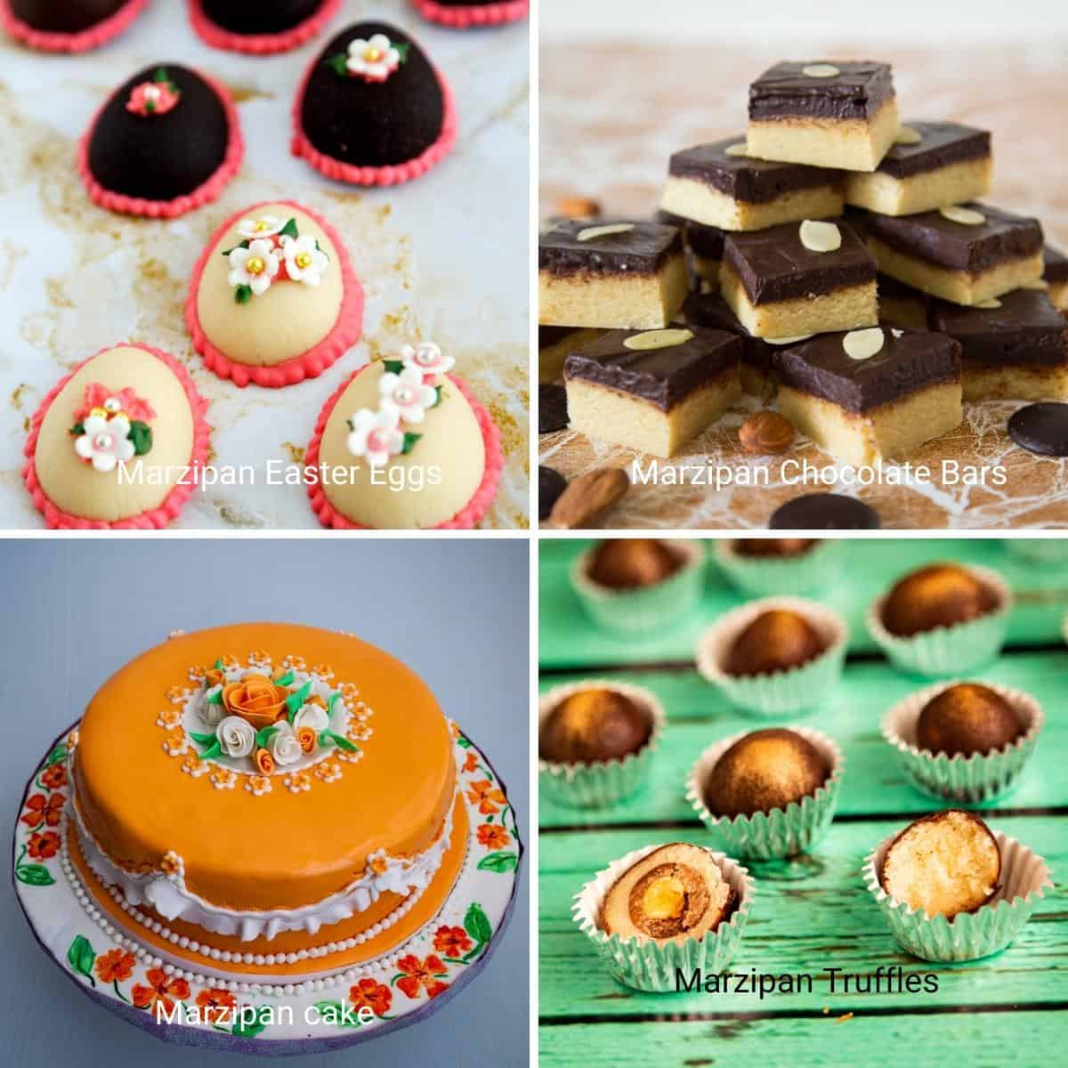 Collage of marzipan treats - cakes, easter eggs, truffles, bars.