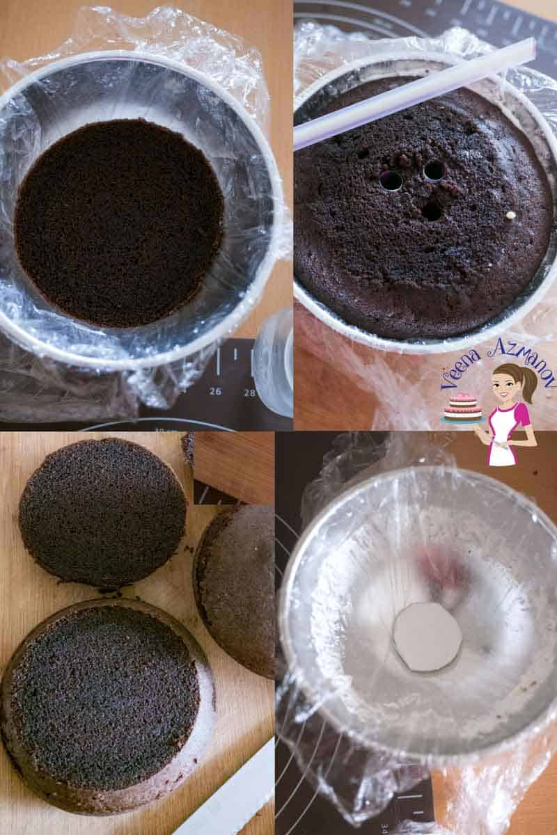 Progress photos of making a perfect sphere shaped cake.