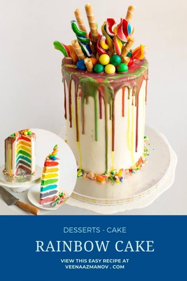 Pinterest image for rainbow layer cake.