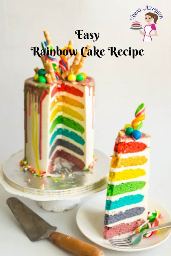 An image optimized for social sharing for how to make an Easy Rainbow Cake Recipe from Scratch with this seven layer rainbow cake.