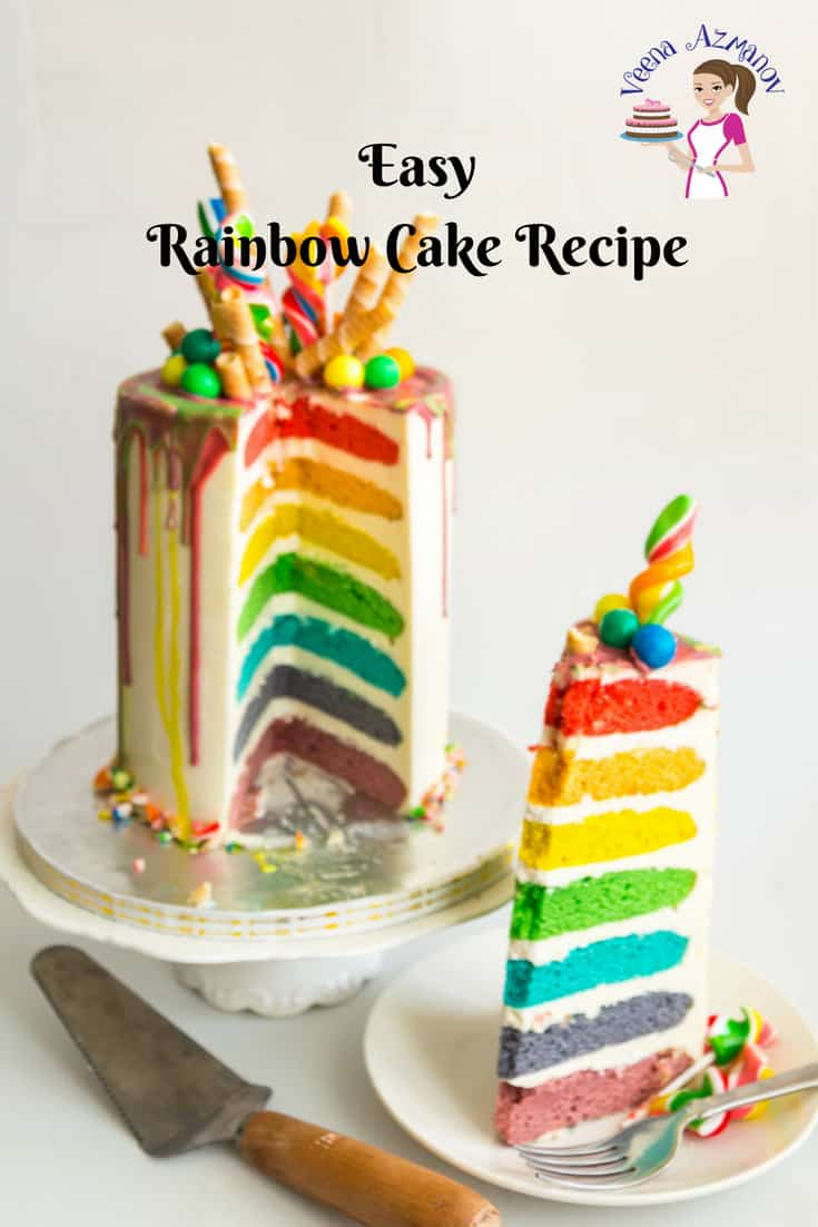 Surprising Easy Rainbow Cake Recipe Seven Layers Veena Azmanov Funny Birthday Cards Online Sheoxdamsfinfo
