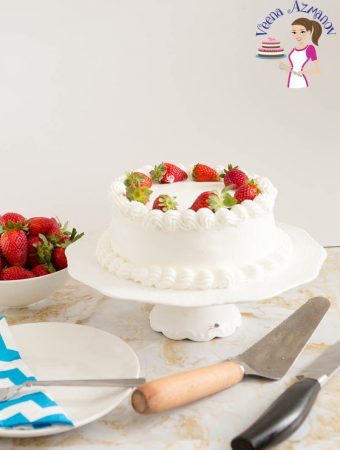 Strawberry cream cake with homemade whipped cream frosting