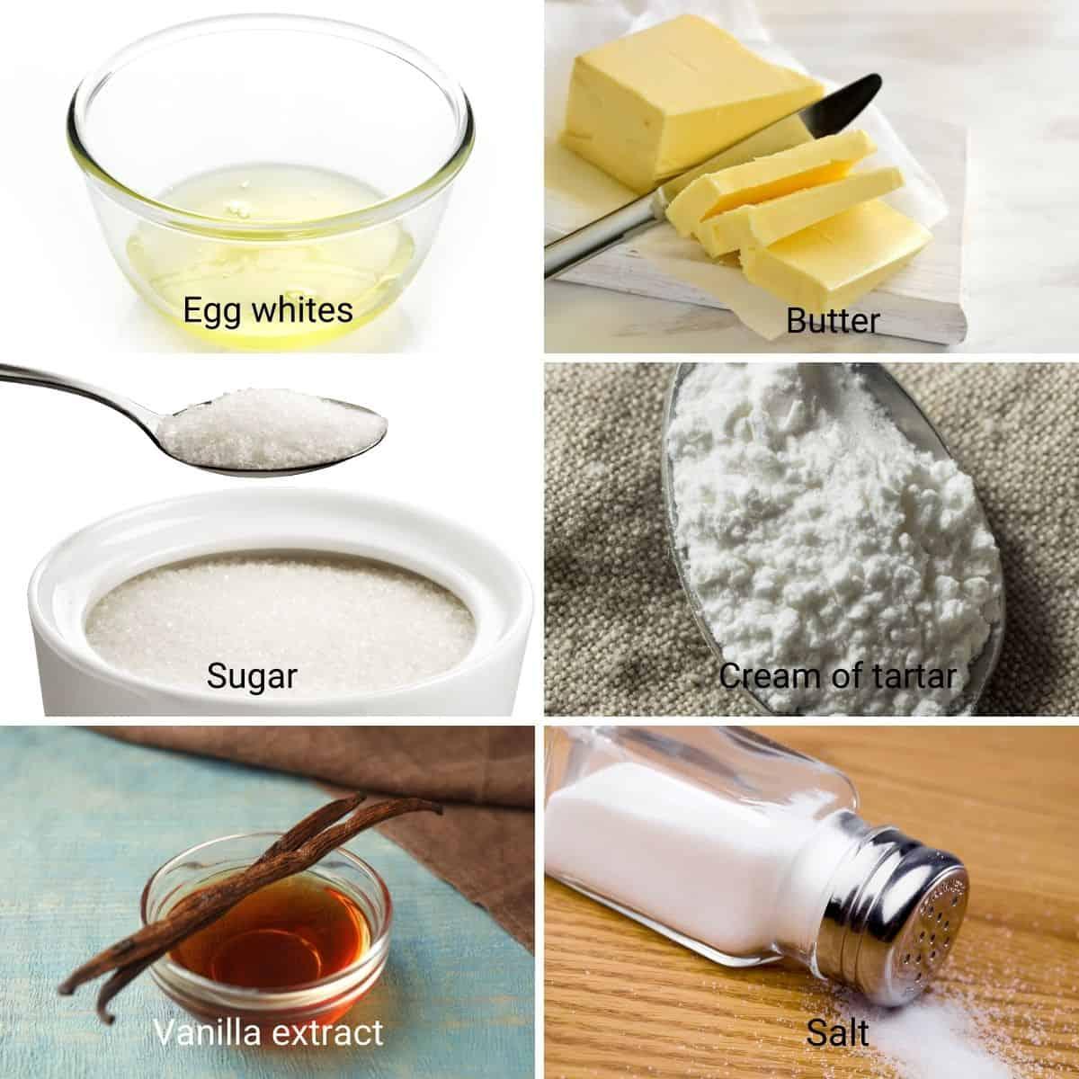 Ingredients for Italian Meringue Buttercream.