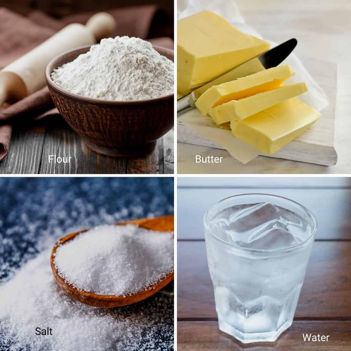 Ingredients for making a homemade crust for sweet and savory pies.