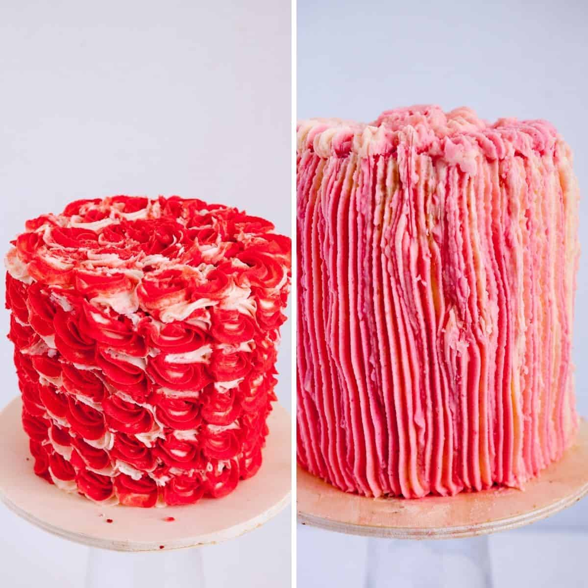 Cakes frosted with Italian Frosting.